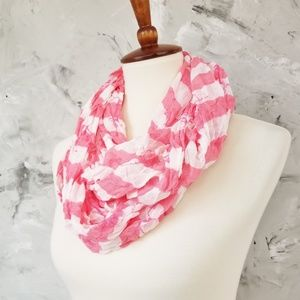 CHARMING CHARLIE Coral and White Infinity Scarf